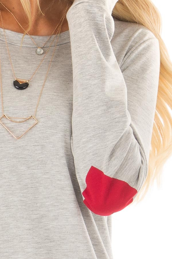 Heather Grey Top with Red Heart Elbow Patches detail