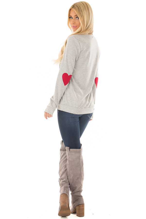Heather Grey Top with Red Heart Elbow Patches back side full body
