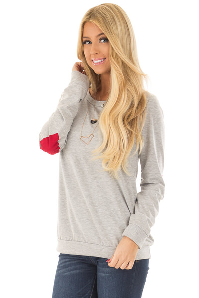 Heather Grey Top with Red Heart Elbow Patches front close up