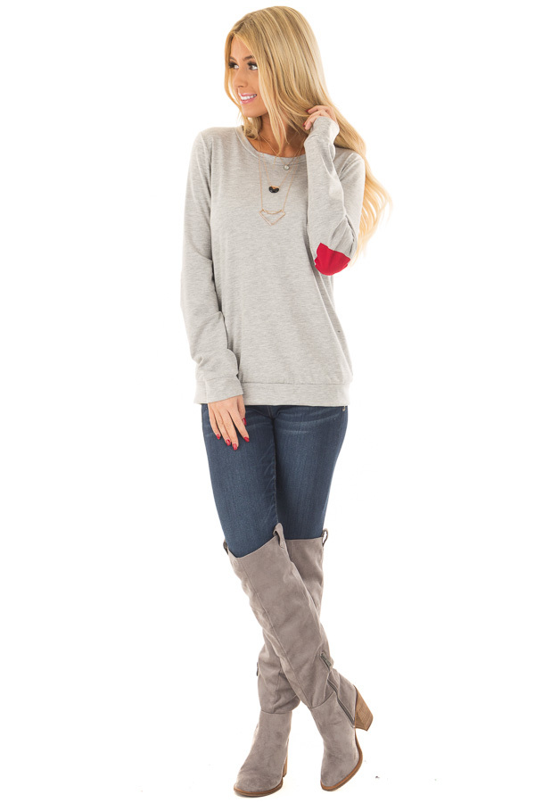 Heather Grey Top with Red Heart Elbow Patches front full body