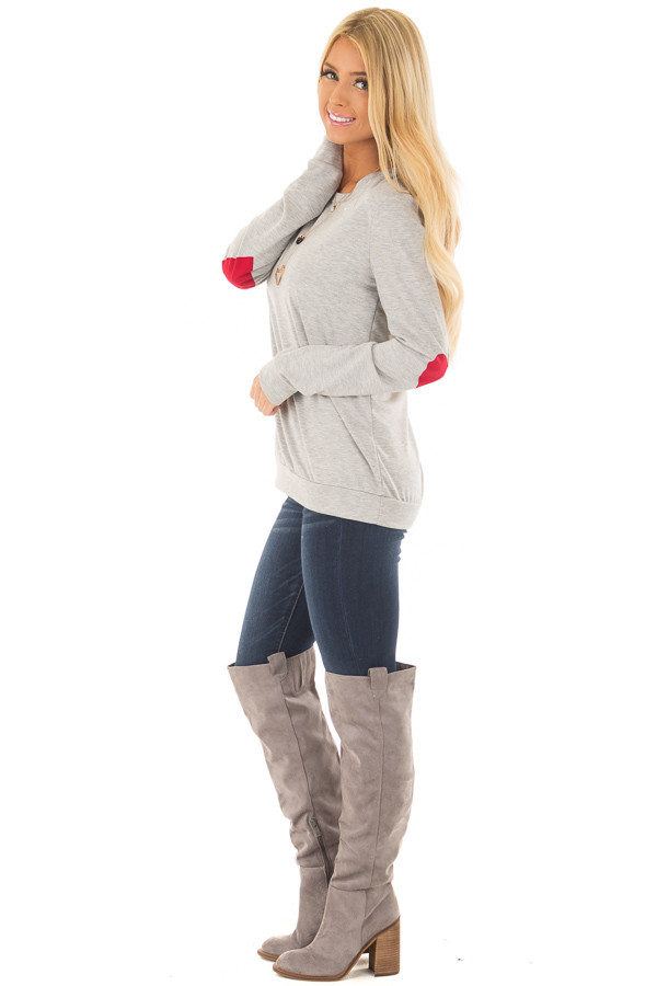 Heather Grey Top with Red Heart Elbow Patches side full body