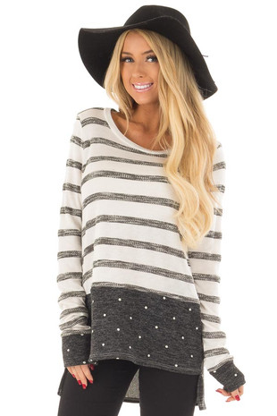 Ivory striped Top with Charcoal Polka Dot Contrast front close up