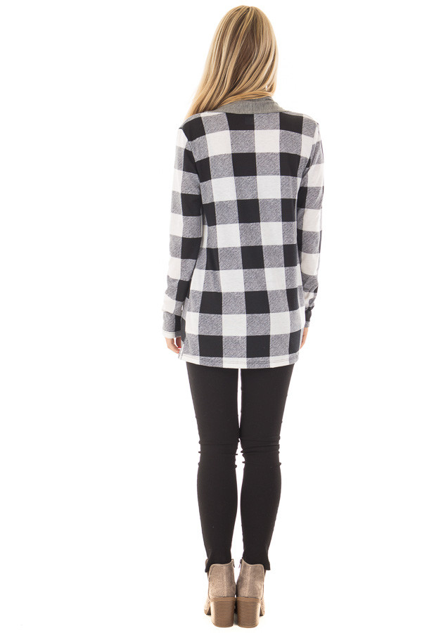 Black and White Plaid Cardigan with Charcoal Contrast back full body