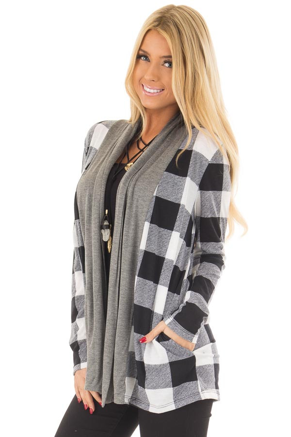 Black and White Plaid Cardigan with Charcoal Contrast front close up