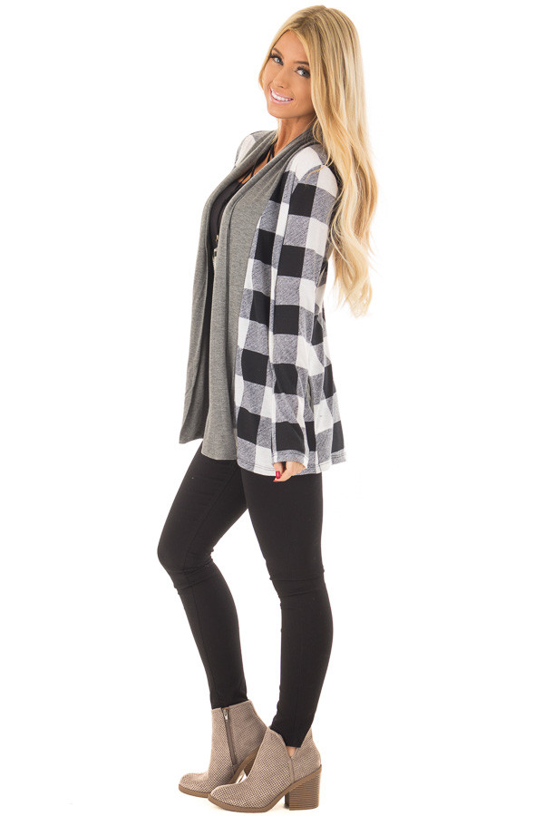 Black and White Plaid Cardigan with Charcoal Contrast side full body