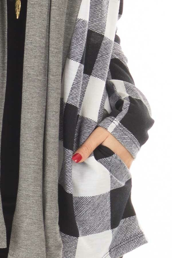 Black and White Plaid Cardigan with Charcoal Contrast detail