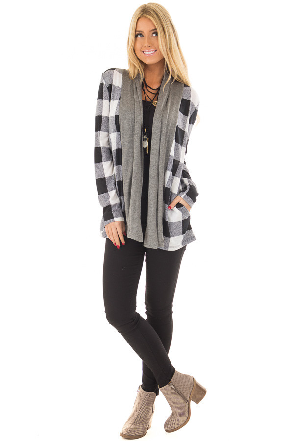 Black and White Plaid Cardigan with Charcoal Contrast front full body