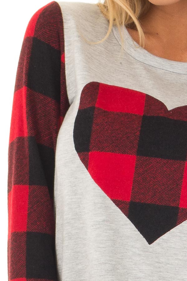 Heather Grey Top with Plaid Red Heart and Sleeves detail