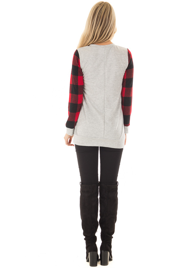 Heather Grey Top with Plaid Red Heart and Sleeves back full body