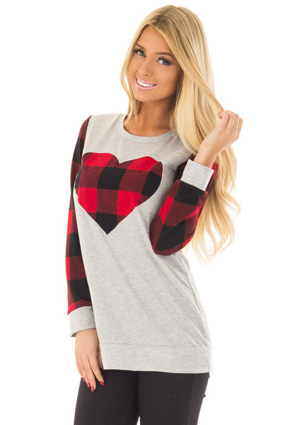 Heather Grey Top with Plaid Red Heart and Sleeves front close up