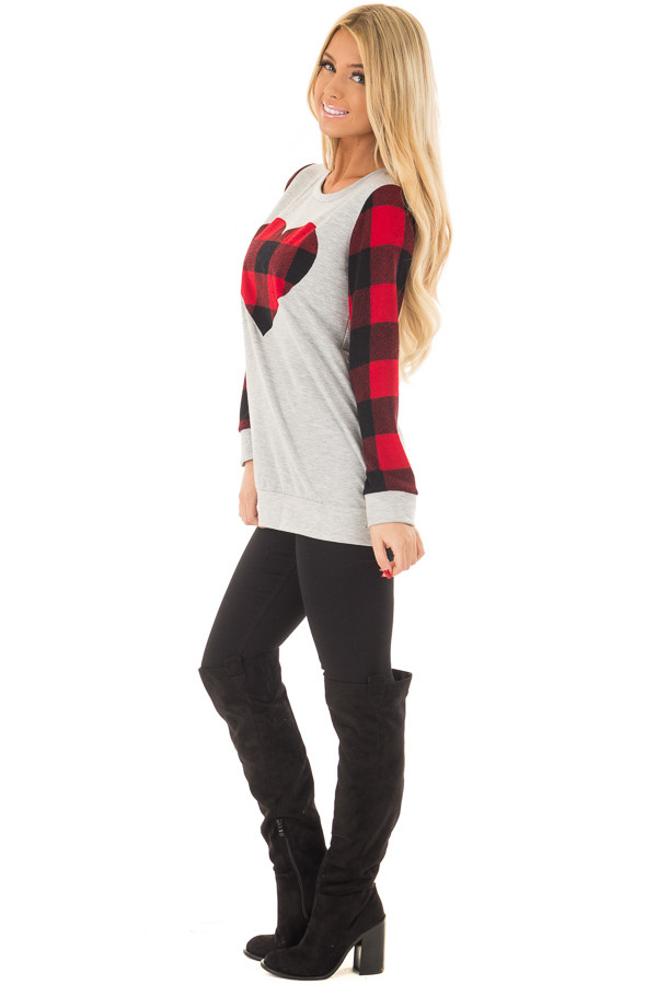 Heather Grey Top with Plaid Red Heart and Sleeves side full body