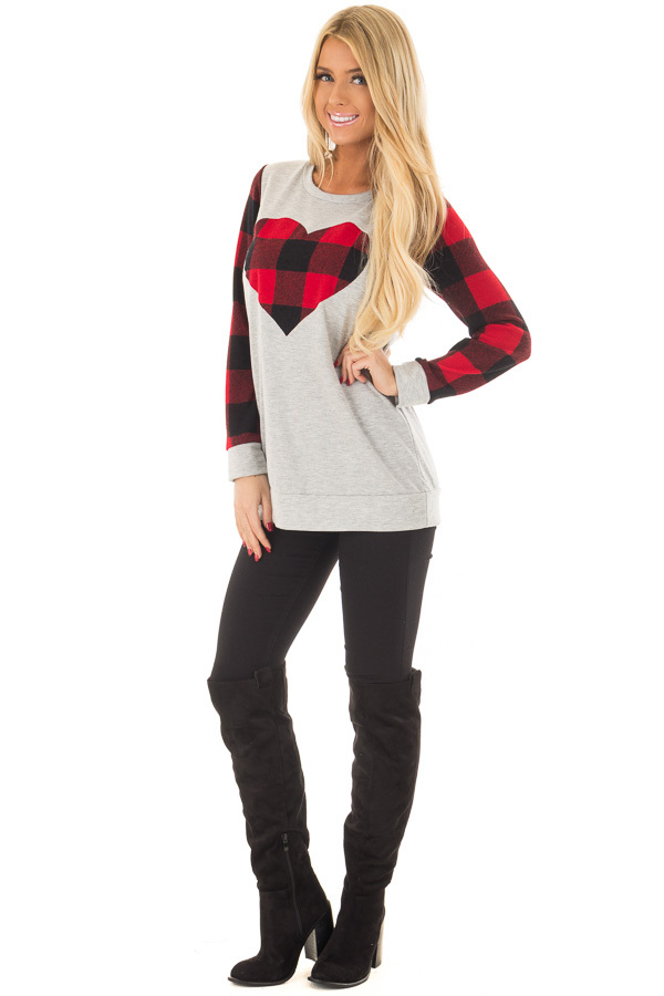 Heather Grey Top with Plaid Red Heart and Sleeves front full body