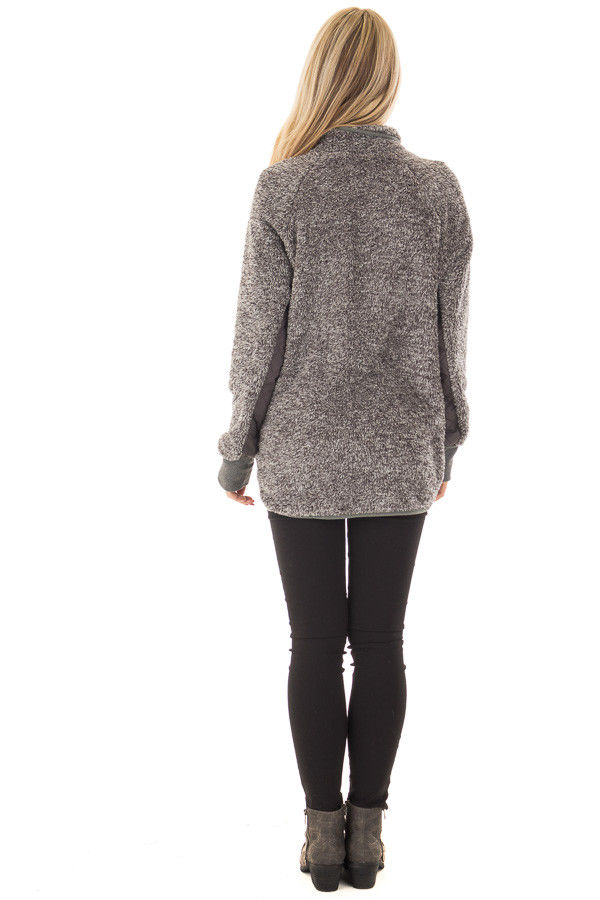 Charcoal Two Tone Faux Fur Pull Over with Quilted Contrast back full body