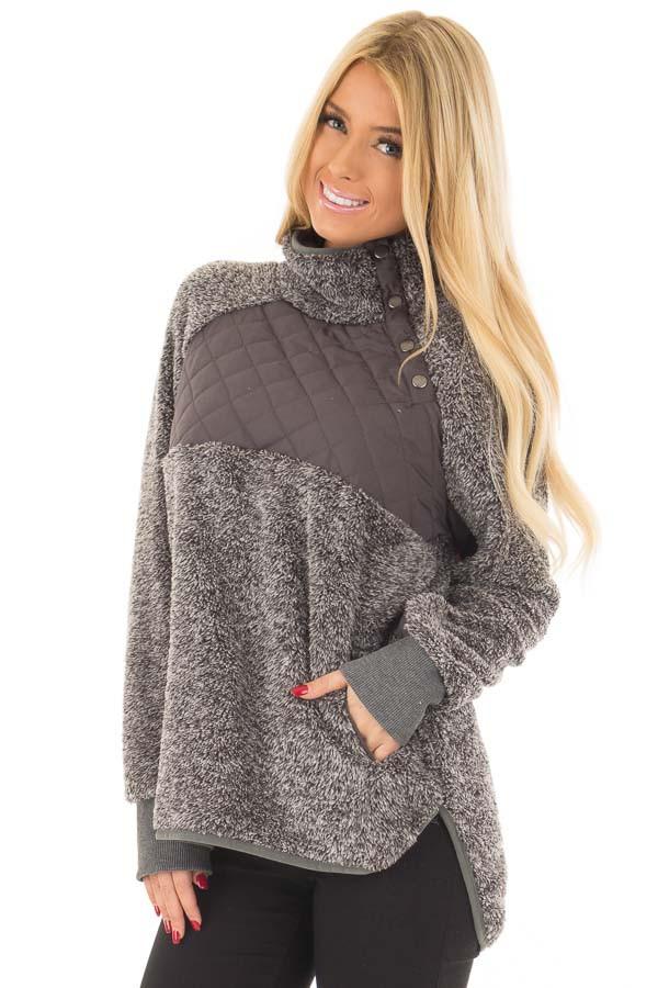 Charcoal Two Tone Faux Fur Pull Over with Quilted Contrast front close up