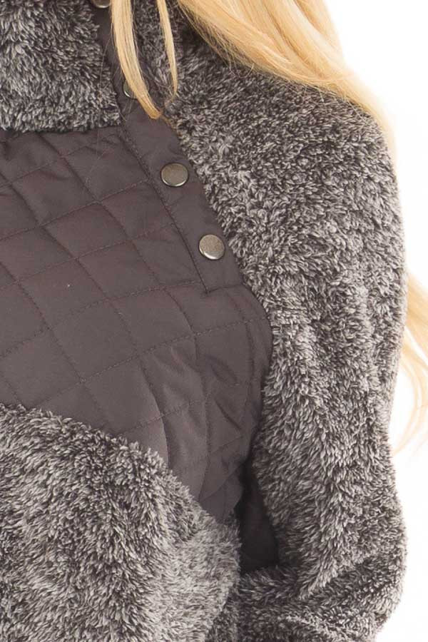 Charcoal Two Tone Faux Fur Pull Over with Quilted Contrast detail