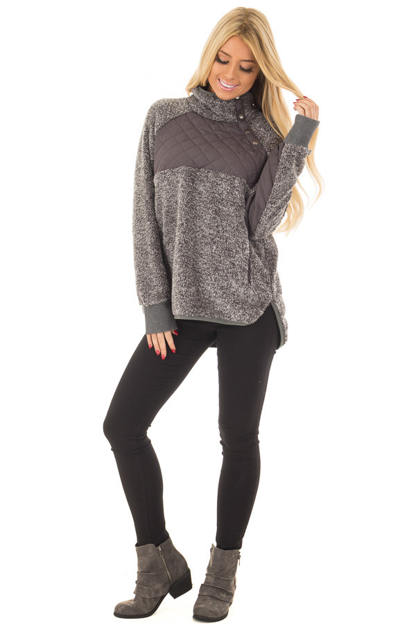 Charcoal Two Tone Faux Fur Pull Over with Quilted Contrast front full body