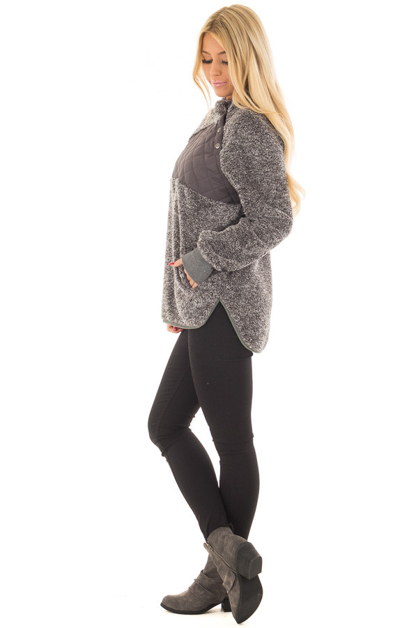 Charcoal Two Tone Faux Fur Pull Over with Quilted Contrast side full body