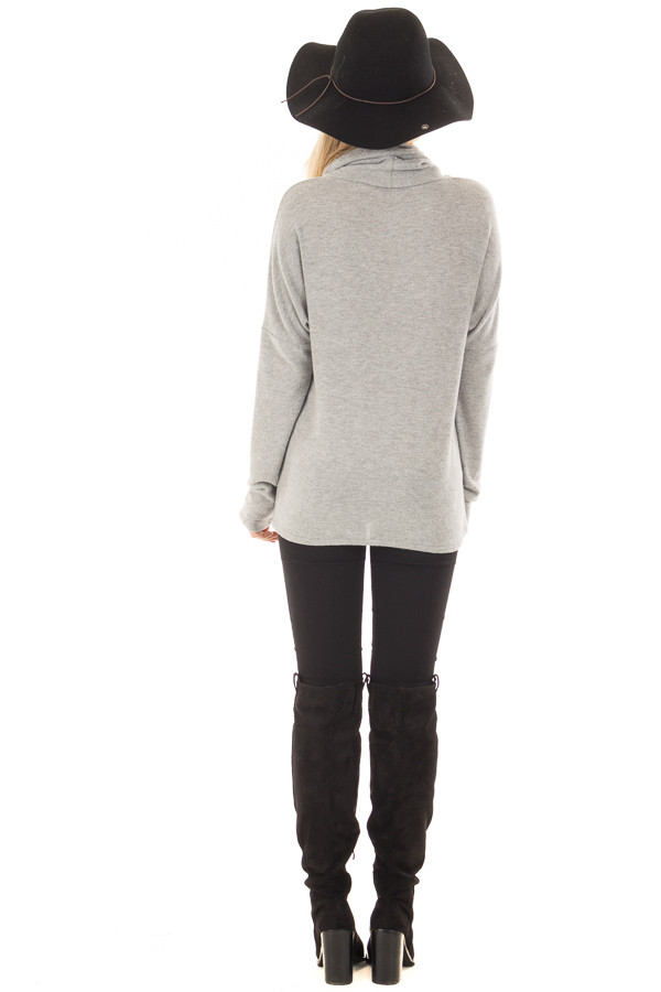 Heather Grey Crossover Sweater with Cut Out Neckline back full body