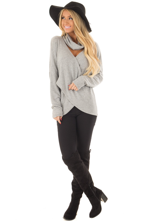 Heather Grey Crossover Sweater with Cut Out Neckline front full body