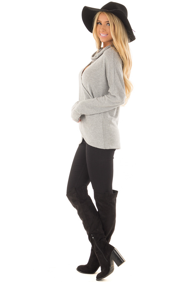 Heather Grey Crossover Sweater with Cut Out Neckline side full body