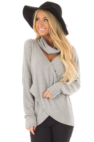 Heather Grey Crossover Sweater with Cut Out Neckline front close up