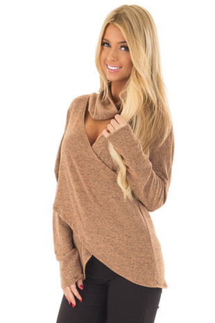 Rust Two Tone Crossover Sweater with Cut Out Neckline front close up