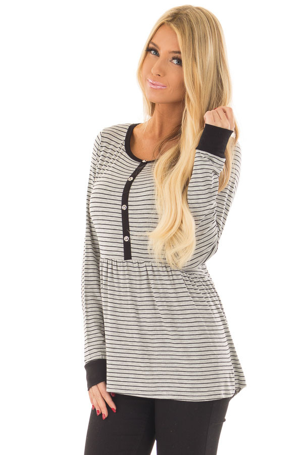 Heather Grey Striped Babydoll Top with Button Details front close up