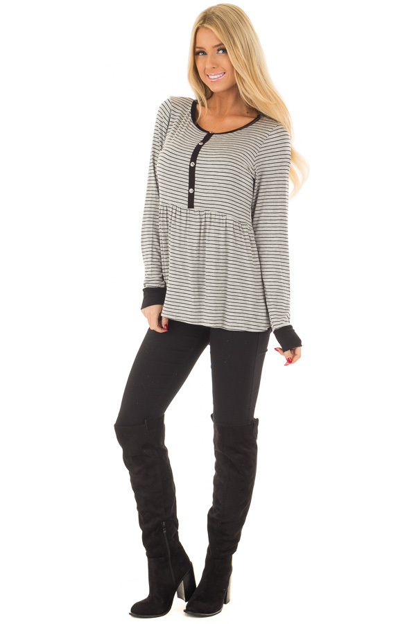 Heather Grey Striped Babydoll Top with Button Details front full body