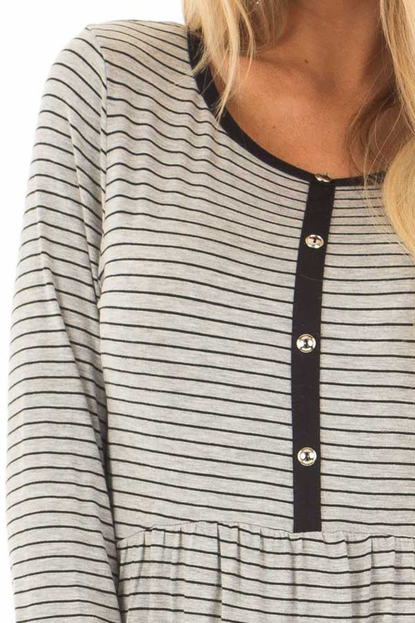 Heather Grey Striped Babydoll Top with Button Details detail