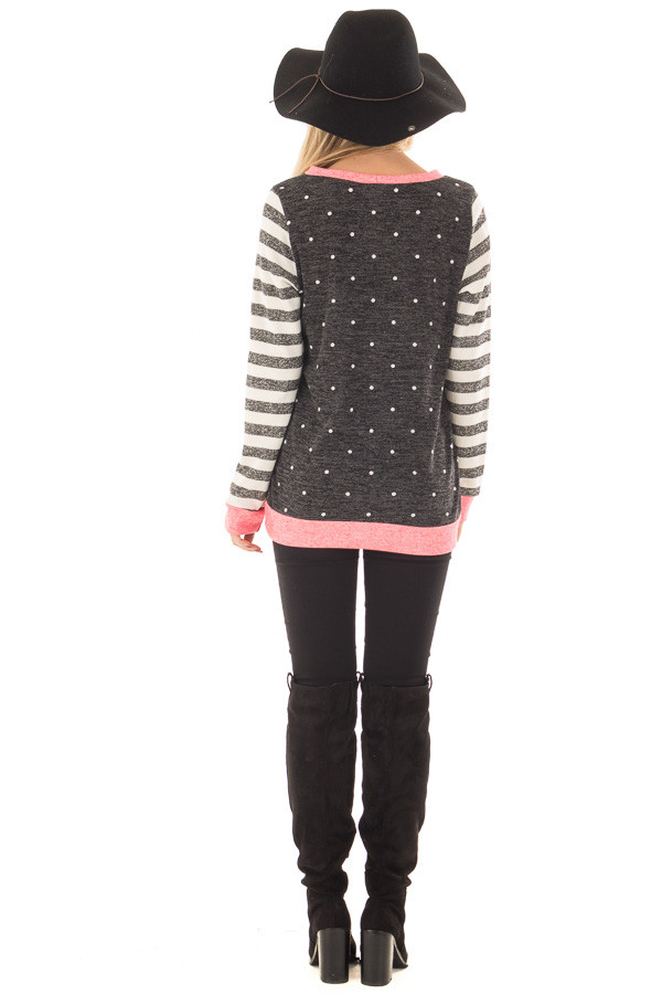 Black Polka Dot Top with Stripe Contrast and Pink Detail back full body