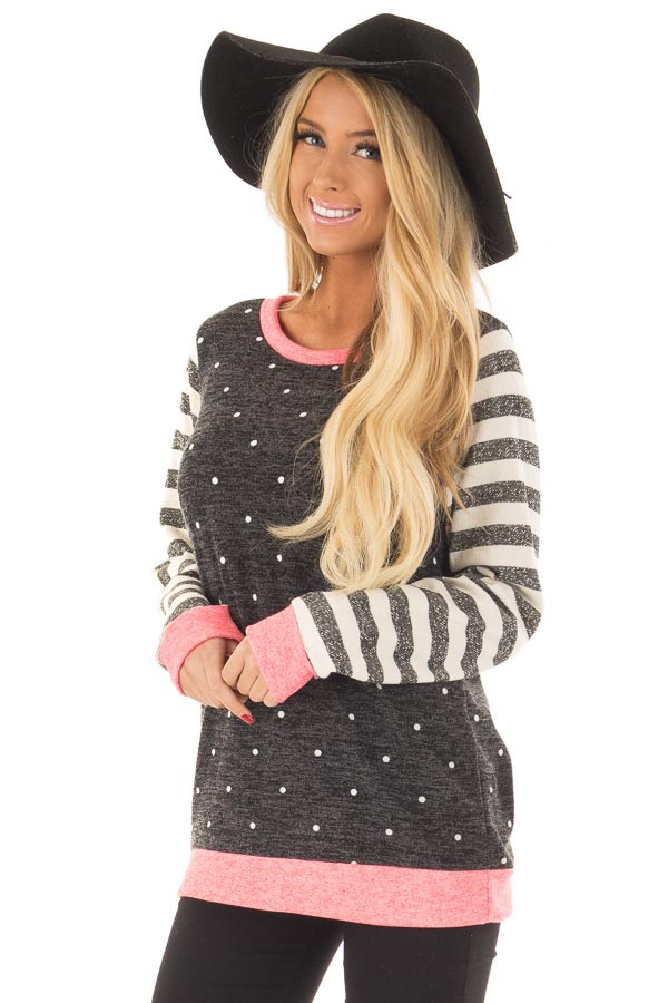 Black Polka Dot Top with Stripe Contrast and Pink Detail front close up