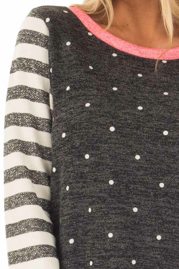 Black Polka Dot Top with Stripe Contrast and Pink Detail detail