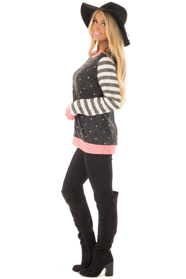 Black Polka Dot Top with Stripe Contrast and Pink Detail side full body