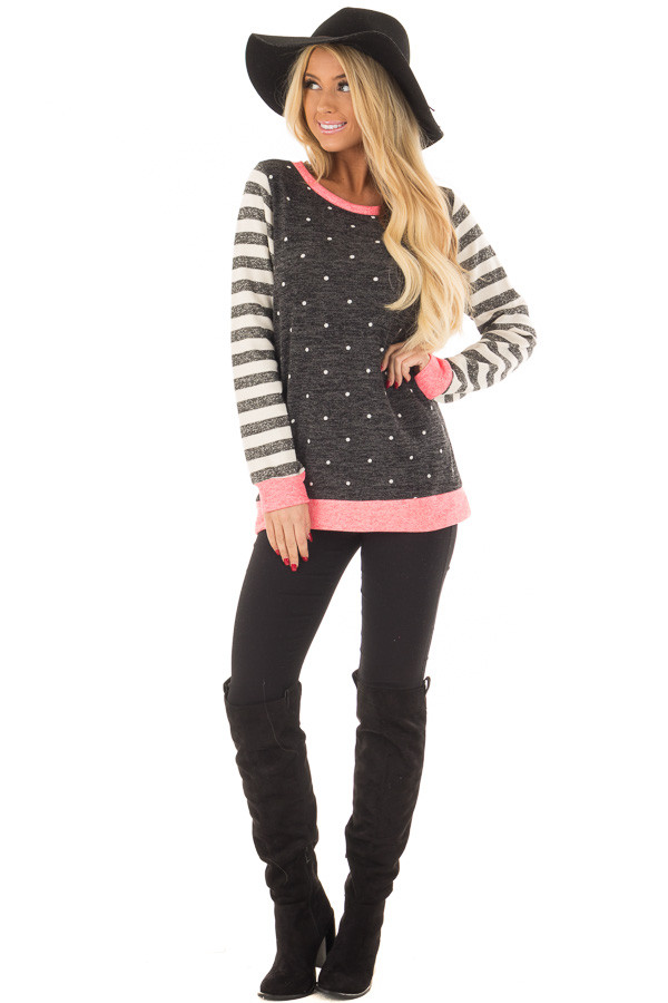 Black Polka Dot Top with Stripe Contrast and Pink Detail front full body