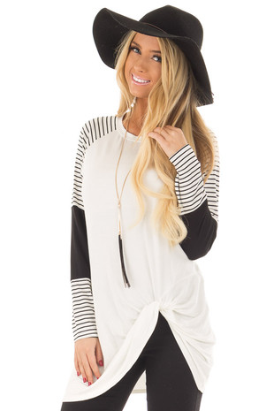 Ivory Twist Detail Top with Striped Color Block Sleeves front close up
