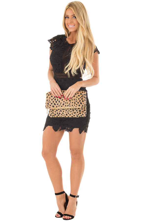 Leopard Faux Fur Fold Over Clutch with Gold Strap front full body