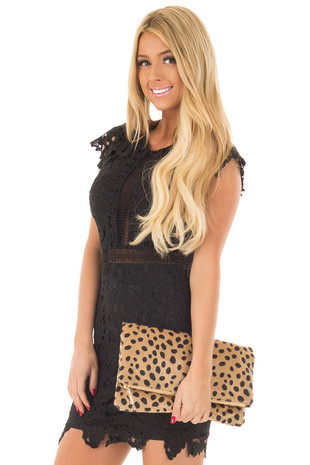 Leopard Faux Fur Fold Over Clutch with Gold Strap front close up
