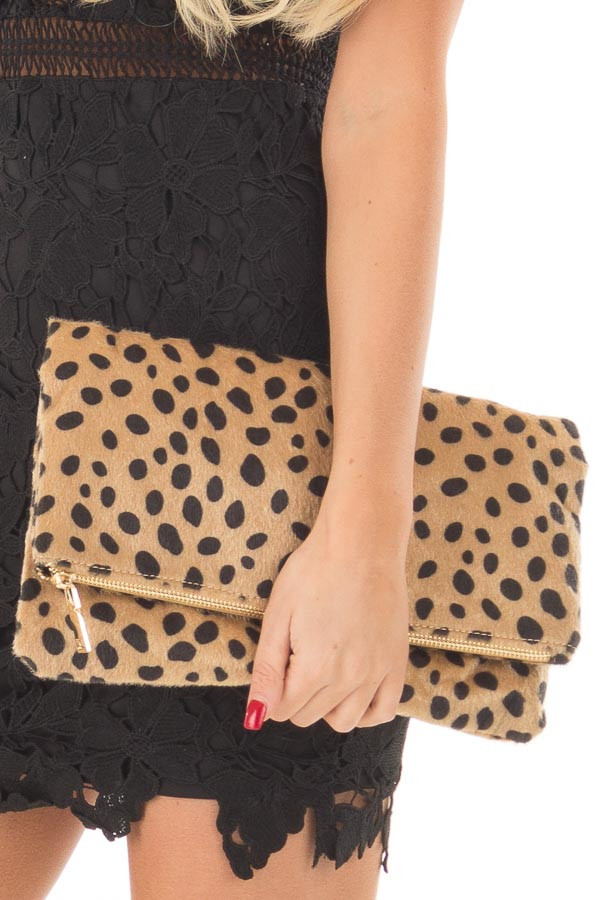 Leopard Faux Fur Fold Over Clutch with Gold Strap detail
