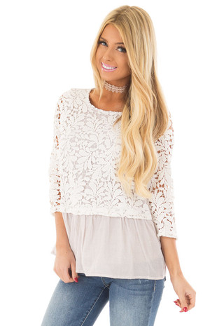 Ivory and Tan Striped Top with Sheer Lace Contrast front close up