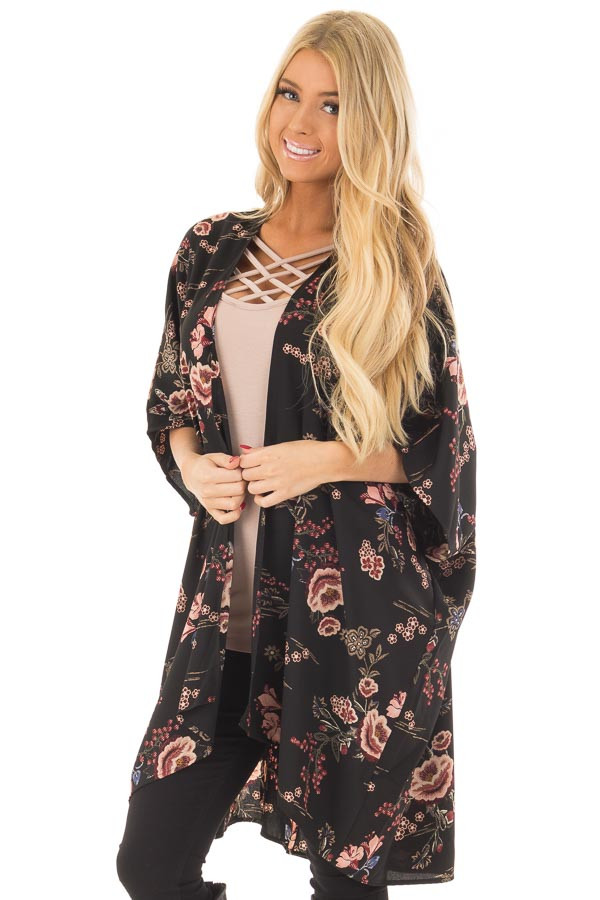 Black Floral Print Long Cardigan front close up