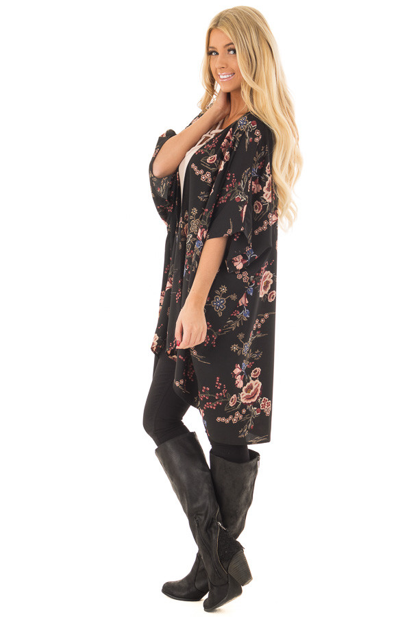 Black Floral Print Long Cardigan side full body