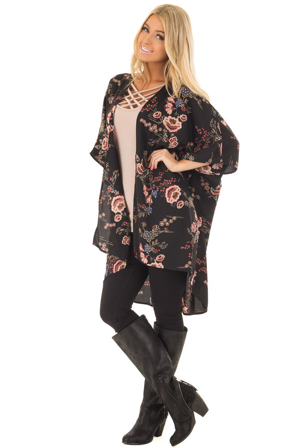 Black Floral Print Long Cardigan front full body
