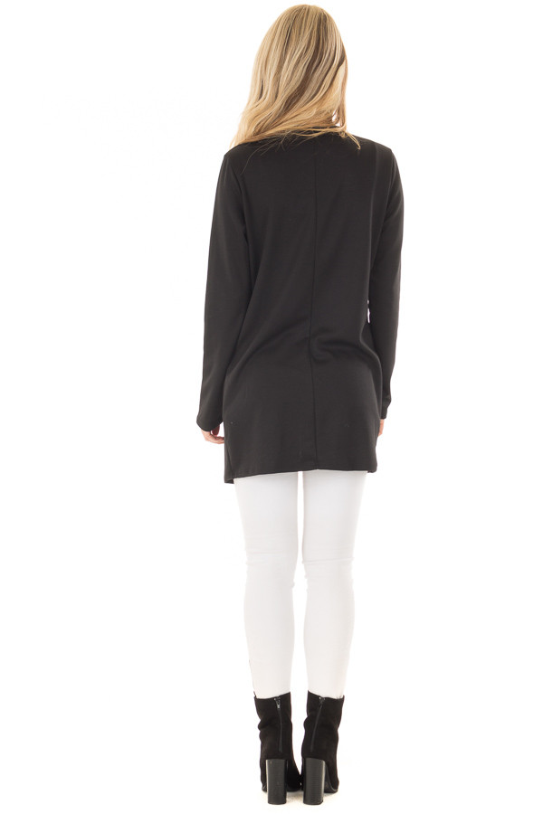 Black Long Blazer with Front Pockets back full body