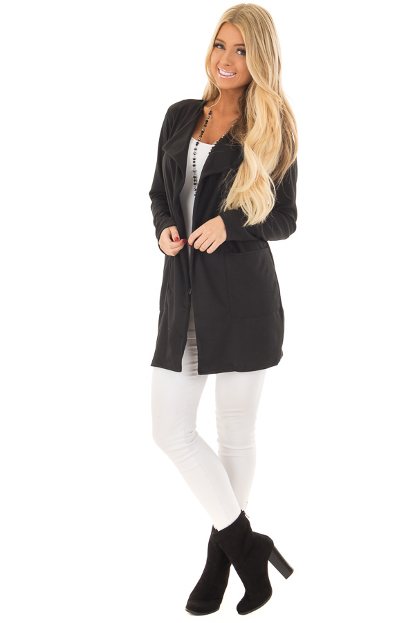 Black Long Blazer with Front Pockets front full body