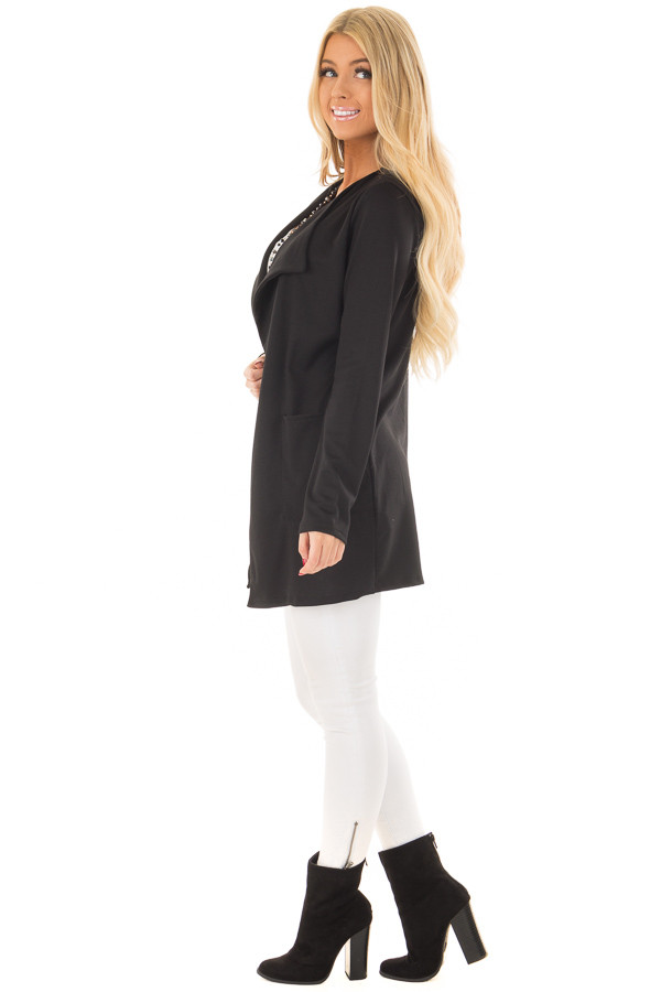 Black Long Blazer with Front Pockets side full body