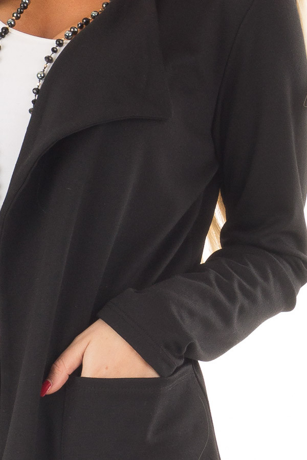 Black Long Blazer with Front Pockets detail