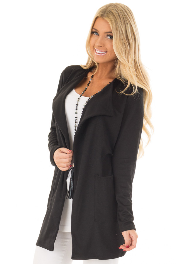 Black Long Blazer with Front Pockets front close up