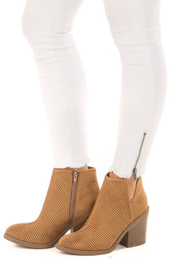 Tan Faux Suede Heeled Bootie with Cutout Details front side view