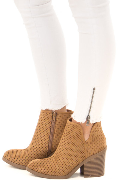 Tan Faux Suede Heeled Bootie with Cutout Details side view