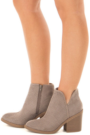 Grey Faux Suede Heeled Bootie with Cutout Details side view